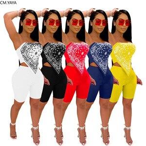 CM.YAYA Women Bandanna Print Bellyband Mini Crop Tops Knee Length Shorts Jogger Pants Suit Two Piece Set Sport Tracksuit Outfits