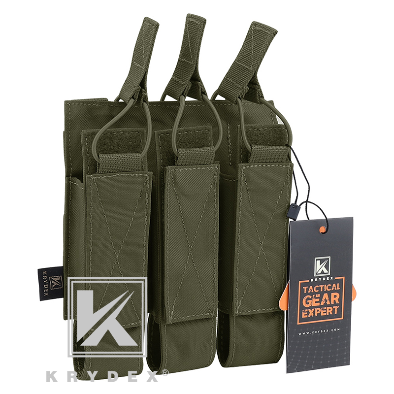 KRYDEX Tactical Modular Triple Magazine Carrier Pouch Airsoft Hunting MOLLE Triple Open Top SMG Mag Pouch For MP5 MP7 KRISS RG