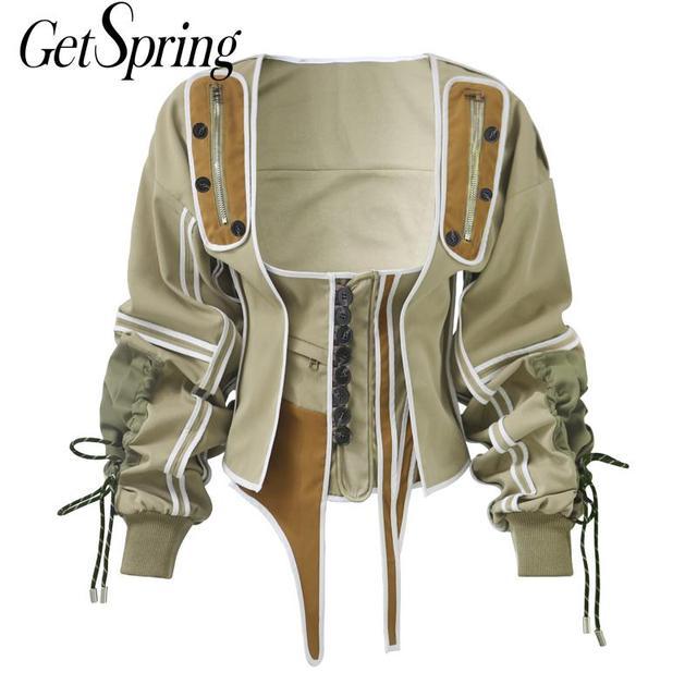 $ US $26.40 Getspring Women Coat Jackets Drawstring Bandage Irregular Vintage Coats Women Square Collar Spring Coat Loose Plus Women Jacket