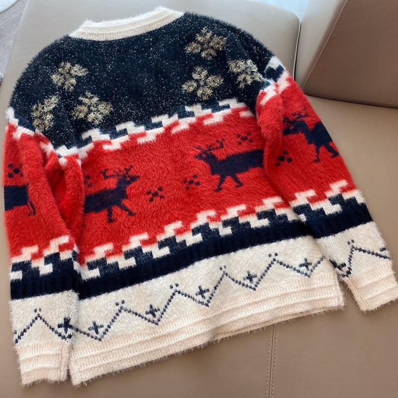 Inverno Con Scollo A V Maglione Allentato delle Donne di Spessore Maglione Di Natale Pullover casual Maglione Lungo Del Manicotto - 2