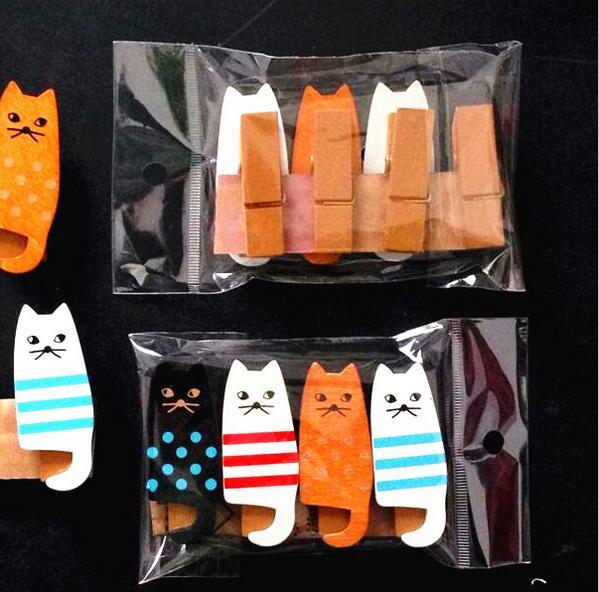 4PCS/lot Kawaii Cat Wood Clips Photo Paper Craft Party Decoration
