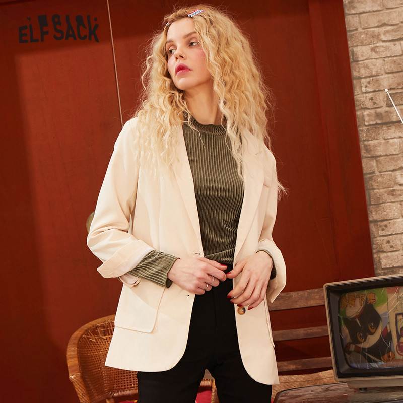ELFSACK Beige Solid Single Breasted Straight Blazer Women 2020 Spring New Korean Style Pocket Office Ladies Daily Outwears