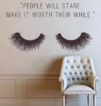 people will star make it worth their while quote decor Beauty Salon Vinyl wall Sticker Eyelashes wall decal window art JH45 art wall sticker lashes salon eyelashes decor vinyl removeable beauty salon decoration make up extensions eyebrows decal ly265