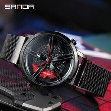 SANDA جديد خاص عجلة سلسلة الطلب الرجال ساعة الصلب خطاف شريطي مشبك قسط كوارتز حركة مقاوم للماء هدية ساعة اليد P1040