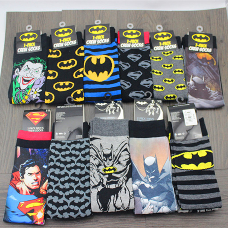 Avengers Marvel Cartoon Socks Batman Superman Joker Cosplay Fashion Sock Novelty Funny Casual Men Sock Spring Summer Socks Hot