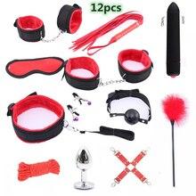 Bullet Mini Vibrador Erotic Sex Toys For Women Anal Butt Plug Bdsm Bondage SM Products Handcuffs Whip Set