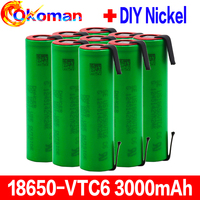 VTC6 3.7V 3000mAh 18650 Li-ion Battery 30A Discharge for 18650 rechargeable battery US18650VTC6 Tools batteries+Nickel sheets