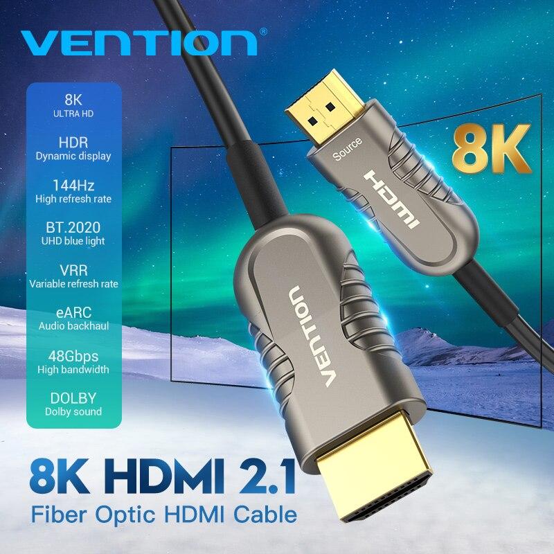 Przewód przedłużający HDMI 2.1 kabel światłowodowy kabel HDMI 8K 48 gb/s wysokiej prędkości HDR eARC dla HD TV, pudełko żarówka jak PS4 60m 100m kabel HDMI 2.1