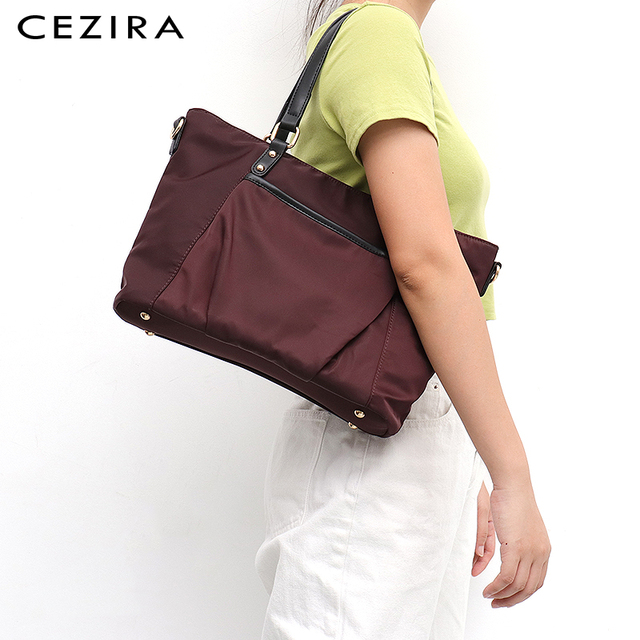 CEZIRA 2019 Winter Brand Style New Nylon Fabric Tote Bag for Women Fashion Shoulder Bag Ladies HIgh Quality Waterproof Handbag Female Luxury Casual Crossbody Purse Girls PU Leather Bucket Handles Zip Pocket Large Bag