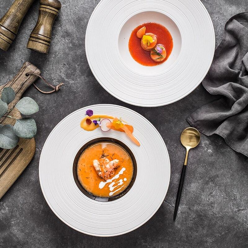 Vaisselle de cuisine pâtes françaises | Céramique nordique chapeau de paille, assiette occidentale hôtel Restaurant 11.4 pouces soupe nouilles Dessert plat profond