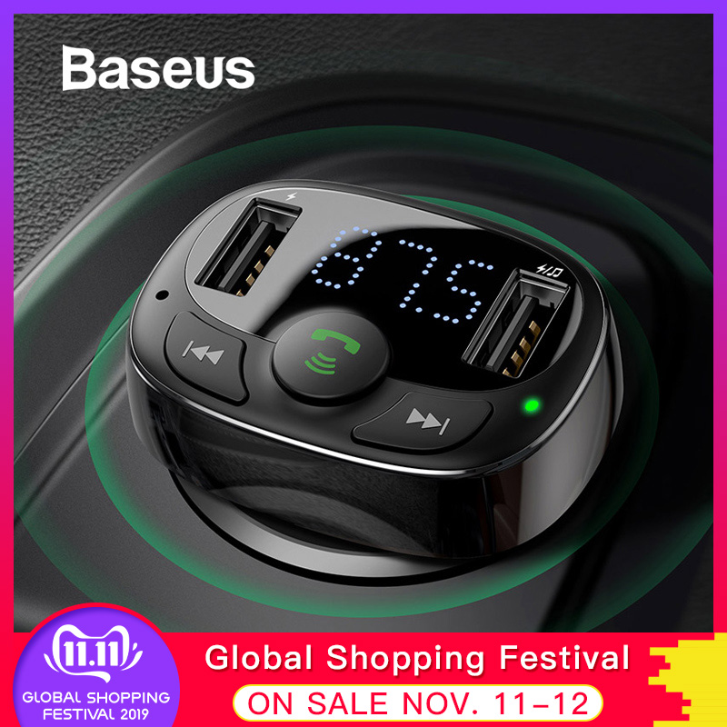 Baseus Dual USB Car Charger with FM Transmitter Bluetooth Handsfree FM Modulator Phone Charger in car For iPhone Xiaomi HUAWEI-in Car Chargers from Cellphones & Telecommunications