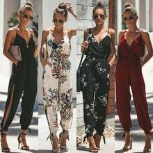 Goocheer Women Boho Floral Sleeveless Tank Jumpsuit Romper Bodysuit Pencil Pants Trousers Print