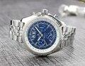 Роскошные брендовые новые мужские часы с хронографом и секундомером, черные, синие, кожа, нержавеющая сталь, сапфир, спортивные часы, класси...