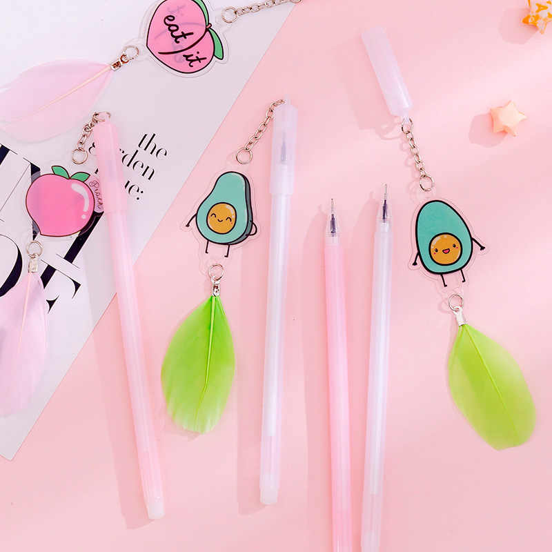 1Pc Leuke Avocado Veer Hanger Gel Pen 0.38Mm Kawaii Perzik Neutrale Pen Voor Kids Geschenken School Kantoorbenodigdheden levert