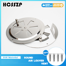 Round Air Louver Vent& Side Knob Opening Grille Cover Marine Boat RV 316 Stainless Steel Ventilation Louvered Vent 5inch
