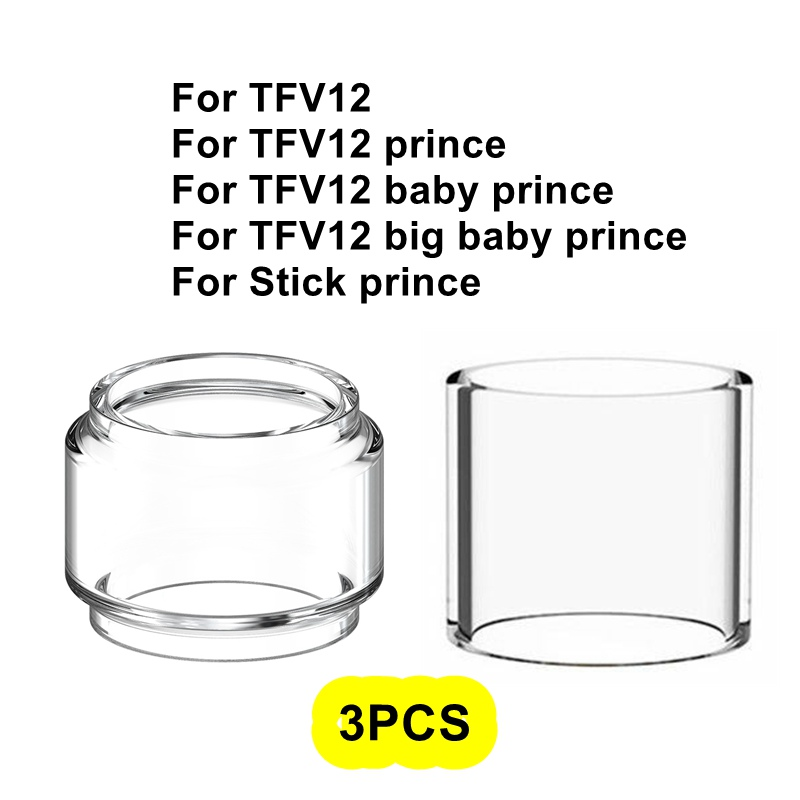 3PCS Pack Replacement Pyrex Glass Tube Tank For Smok TFV12 Big Baby Stick TFV12 Prince 8ml Tank Atomizer Glass Standard Edition