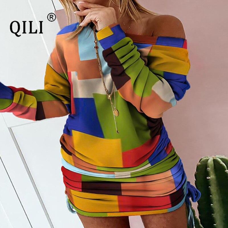 Купить qili женское платье с длинным рукавом и принтом на завязках