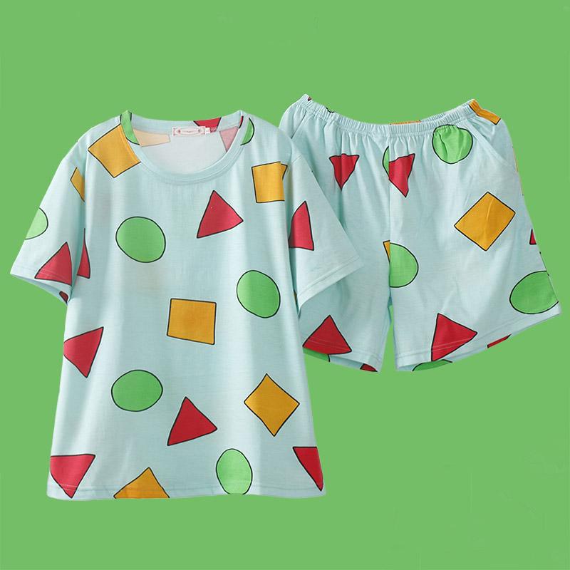 Pijama Sin Chan Man Pajama Sinchan Cotton Summer Short Sets Japanese Pajamas for Couples Man and Woman Sleepwear 2021
