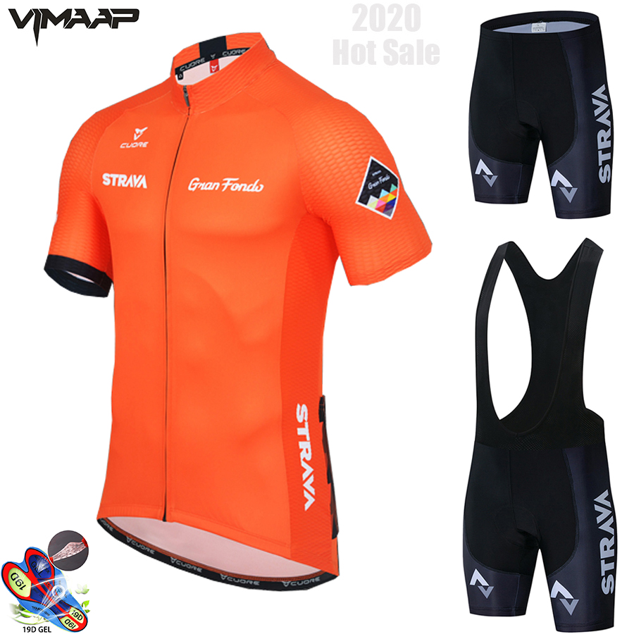 2020 <font><b>STRAVA</b></font> Pro Team summer cycling Jersey set Bicycle Clothing Breathable Men Short Sleeve <font><b>shirt</b></font> <font><b>Bike</b></font> bib shorts 19D Gel pad image