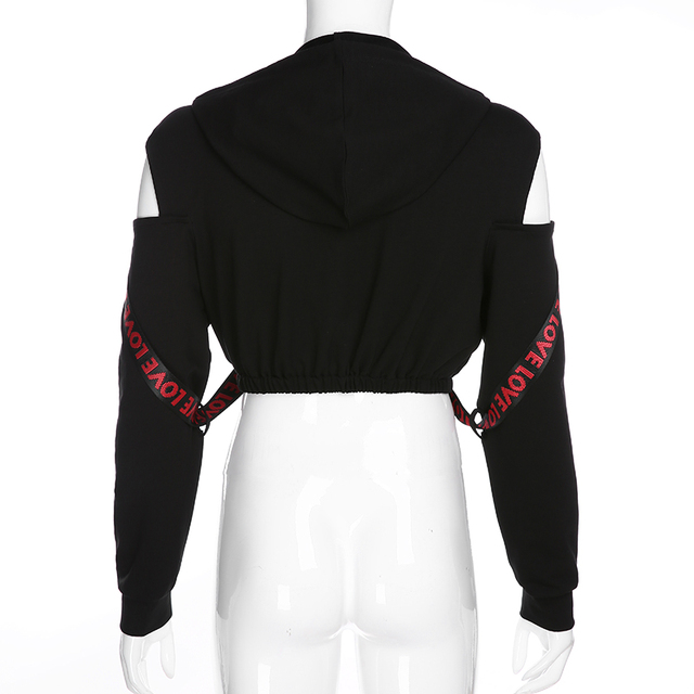 Black Crop Top hoodie with chains