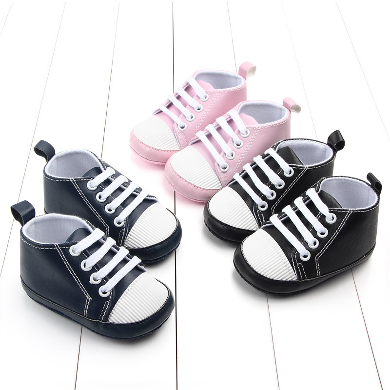 New PU Classic Sports Sneakers Newborn Baby Boys Girls First Walkers Shoes Infant Toddler Soft Sole Anti-slip Baby Shoes