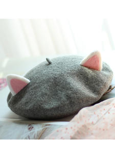VISROVER Beret Cute Cap Punk Rabbit Winter Children Hat Autumn New Solid Kid Unisex Cat-Shape