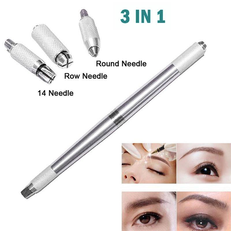 3 In 1 3D Eyebrow Tattoo Pen Machine Professional Tebori Microblading Pen Eyebrow Permanent Makeup Machine Silver Manual