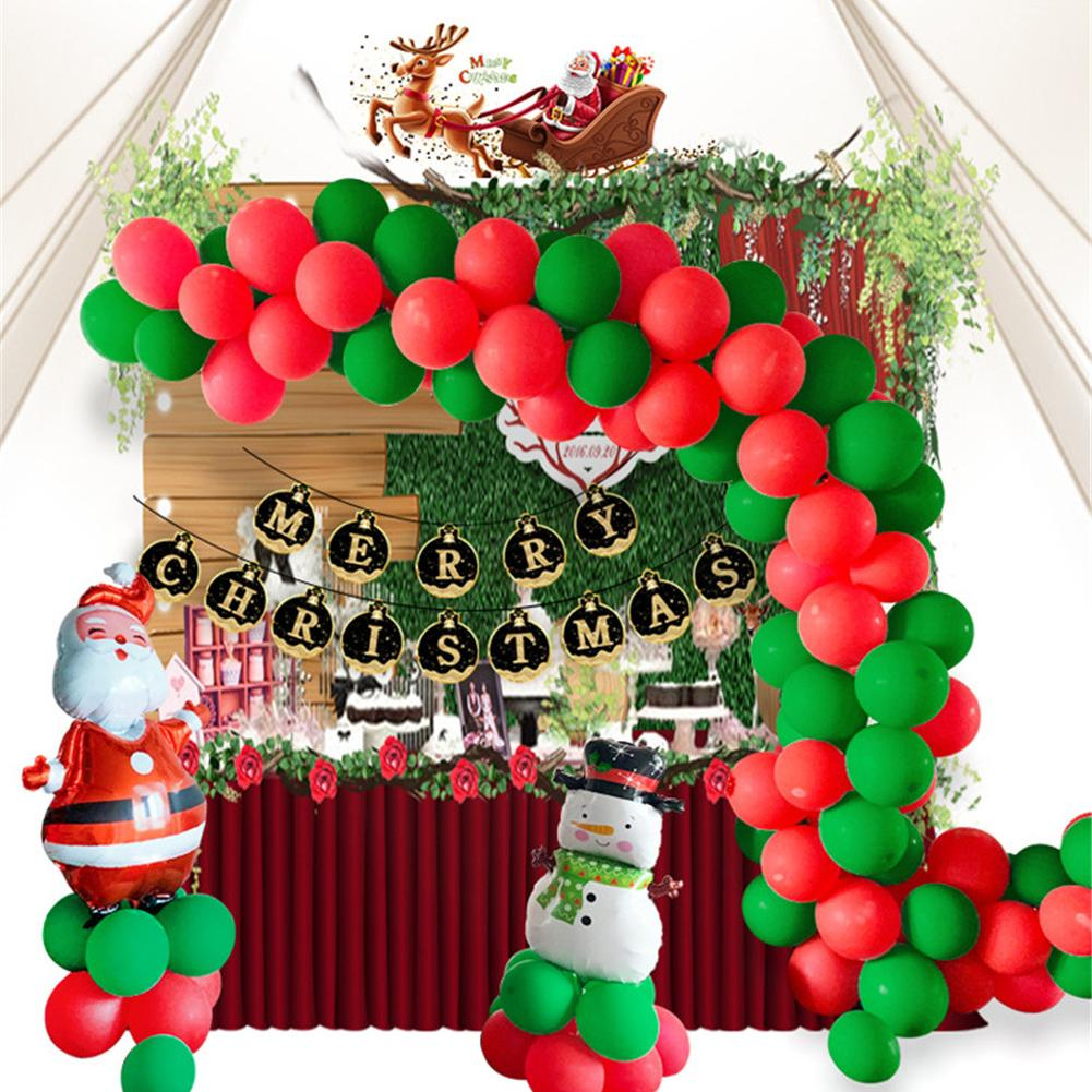 Latex Balloons Set Pull Flag Snowman Old Man Balloon Chain Set Party Supplies Christmas Decorations For Home in Ballons Accessories from Home Garden