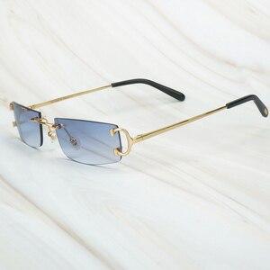 Vintage Sunglasses Men Luxury Brand Sunglass for Men Carter Sun Glasses Rimless Shades Wholesale Retro Eyewear for Women Driving(China)