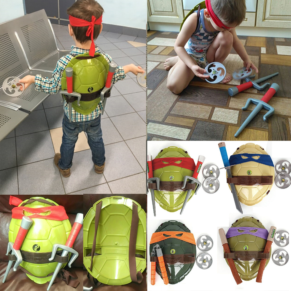 Turtles Armor Toy Weapons Turtle Figure Cosplay Mask Shell Weapon Props Party For Boy Kids Children