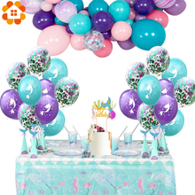 1 takım karikatür Mermaid balonlar konfeti hava balonları düğün balonları çocuklar doğum günü partisi süslemeleri bebek duş malzemeleri