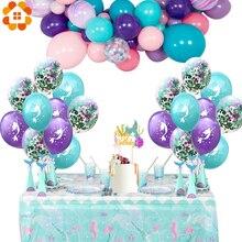 1 zestaw Cartoon Mermaid balony konfetti balony powietrzne balony ślubne dla dzieci dekoracje urodzinowe Baby Shower Supplies