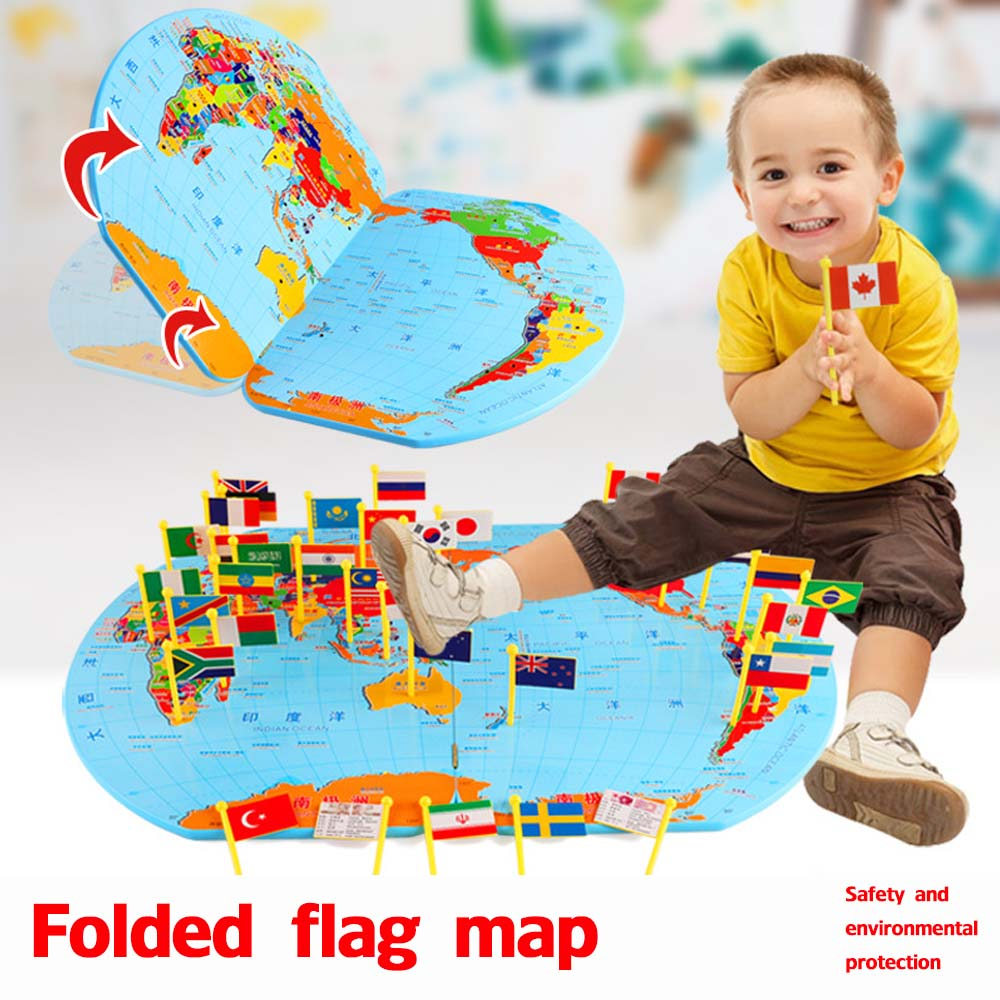 Wooden Children Puzzle Toys Map Of The World Flags Baby's Cognition Geographical Knowledge Stereo Educational Toys Kids Gift