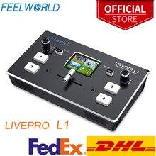 FeelworldマルチフォーマットのビデオミキサースイッチャーUSB3.0 4 hdmi入力カメラ生産ライブストリーミングlivepro L1