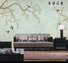 XUE SU Large custom mural wallpaper hand-painted simple fashion flowers and birds background wall fashion hd europe and america hand painted cosmetics wallpaper shop makeup shop background wall