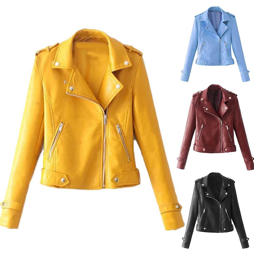 Autumn Women Black Slim Cool Lady PU Leather Jackets Sweet Female Zipper Faux Femme Outwear Coat Plus Size Short Jacket