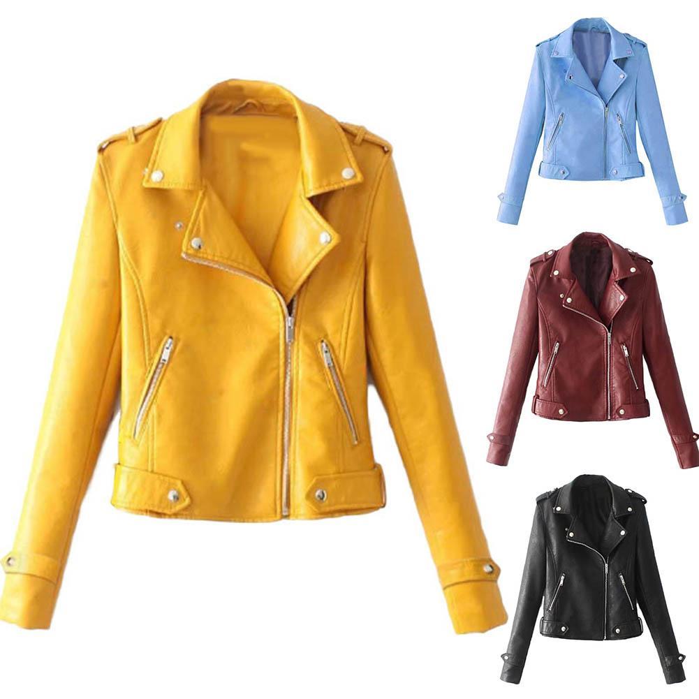 Autumn Women Black Slim Cool Lady PU Leather Jackets Sweet Female Zipper Faux Femme Outwear Coat Plus Size Short Jacket