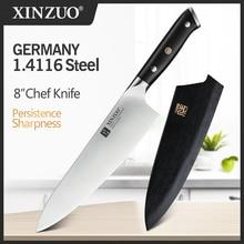 XINZUO 8.5 นิ้วมีดเชฟสูงคาร์บอน DIN 1.4116 หั่นสแตนเลสห้องครัวเยอรมัน KnivesMeat เครื่องมือ Ebony Handle