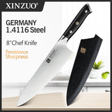 XINZUO 8.5 inch Chef Knife High Carbon Din 1.4116 Slicing Stainless Steel German Kitchen KnivesMeat Tools with Ebony Handle