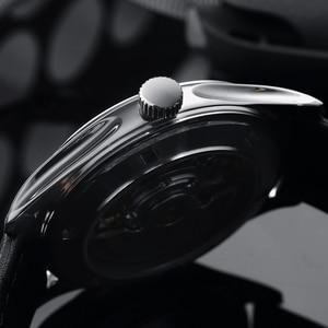 Image 4 - San Martin Männer Kleid Uhr Business Automatische Mechanische Watche Mode Swift Leder Sapphire Sehen durch Fall Zurück Datum Fenster