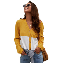liva girl Long Sleeve V Neck Tie Knot Knitted Blouse Shirt Women Color Block Casual Loose Tops and Blouses Ladies Top Winter