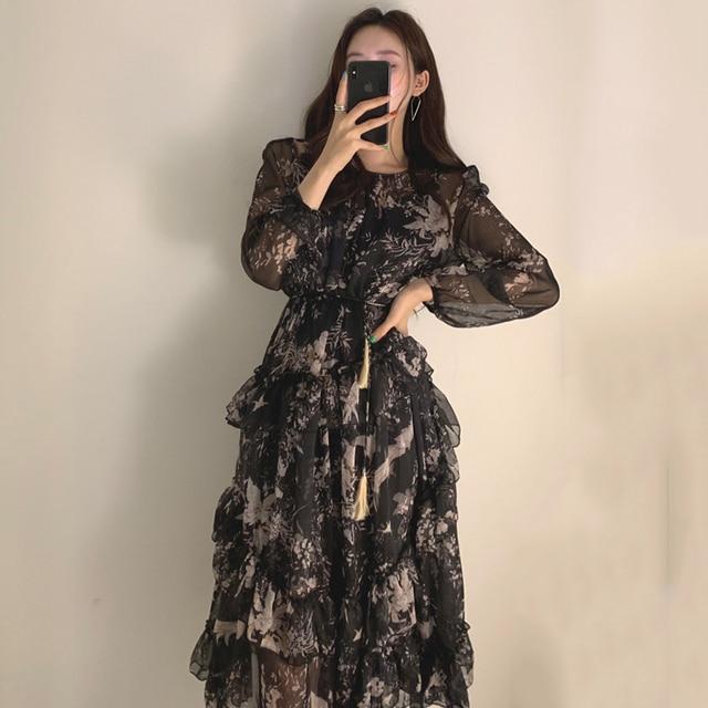 WAVSIYIER print floral vintage party a-line long sleeve woman korean style autumn winter elegant dresses 2020 loose dress women 4