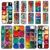 FHNBLJ-Juego de acuarelas de colores, paleta de pintura, funda de teléfono para Huawei Honor 8x9 10 20 V 30 pro 10 20 lite 7A 9lite