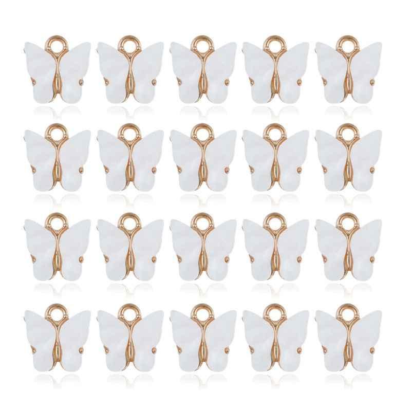 20 adet renkli akrilik kelebek takılar kolye kolye bilezik takı yapımı WXTE