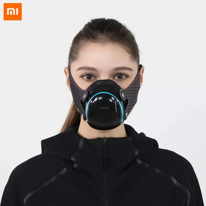 XiaoMi YouPin Hootim KN95 N95 Filter Face Mask 98.9% PM2.5 Sterilizing Provides Active Air Supply Electric Mouth Face Mask Cover