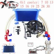 цена на XX Universal 13 row oil cooler 7'' oil cooler fan + for BMW E36 E46 oil filter adapter XXTOL13-14BK/BL