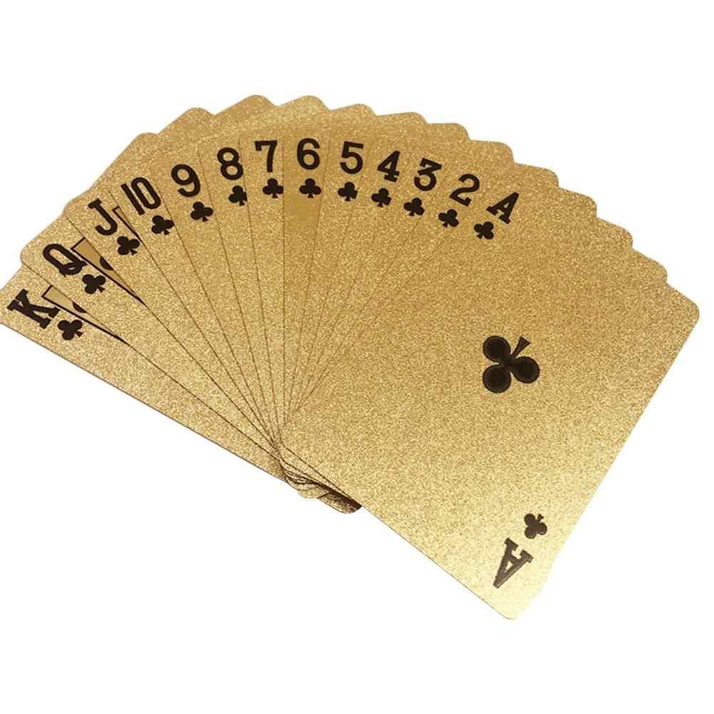 Carte en plastique imperméable de cartes à jouer de carte de Poker de feuille d'or pour des accessoires magiques de divertissement partie de jeux 57MM * 88MM