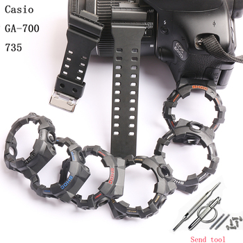 Watch accessories 16mm resin strap for camouflage Casio G-SHOCK GA-700 710 735 men and women sports transparent silicone strap недорого