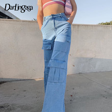 Darlingaga Streetwear Big Pockets High Waist Jeans Straight Solid Cargo Pants Women Casual Denim Trousers Ladies Baggy Jeans New(China)