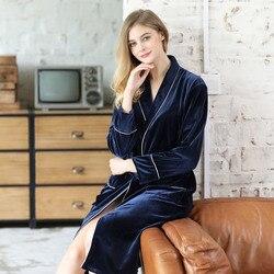 Tvzt 2020 New Gold velvet  nightgown  female autumn winter  velvet long sleeve velvet  belt sexy home clothing 2 colours